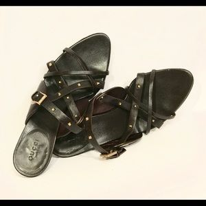 Gucci brown leather high heel sandals size 8